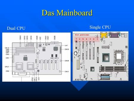 Das Mainboard Single CPU Dual CPU.