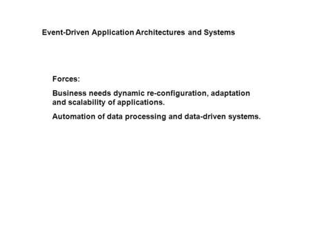 Forces: Business needs dynamic re-configuration, adaptation and scalability of applications. Automation of data processing and data-driven systems. Event-Driven.