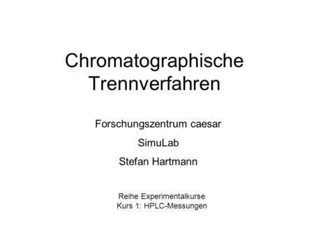 Chromatographie und andere Trennverfahren für das Schulexperiment ...