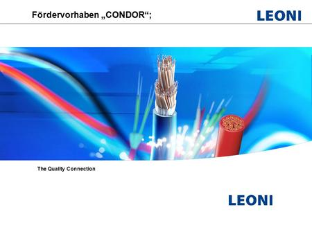 "Leoni Fiber Optics; PL Optical switches; Vorbereitungsmeeeting CONDOR, HHI ; September 2009 Fördervorhaben ""CONDOR""; The Quality Connection."
