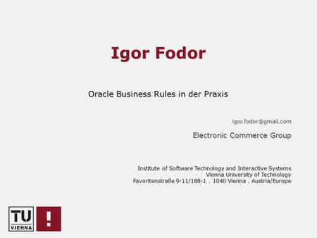 Oracle Business Rules in der Praxis