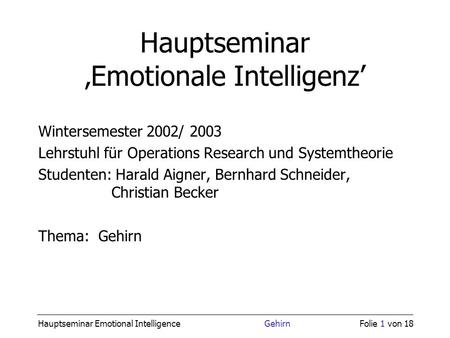 Hauptseminar 'Emotionale Intelligenz'