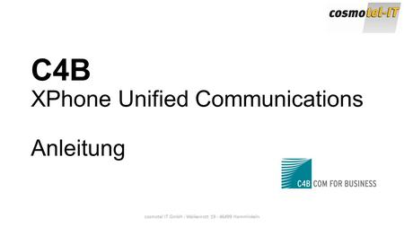 C4B XPhone Unified Communications Anleitung