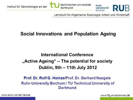 Social Innovations and Population Ageing