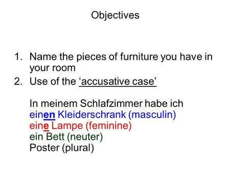 Objectives 1.Name the pieces of furniture you have in your room 2.Use of the accusative case In meinem Schlafzimmer habe ich einen Kleiderschrank (masculin)