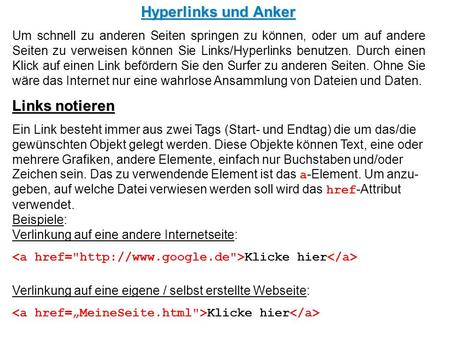 Hyperlinks und Anker Links notieren