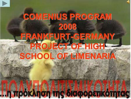 COMENIUS PROGRAM 2008 FRANKFURT-GERMANY PROJECT OF HIGH SCHOOL OF LIMENARIA.