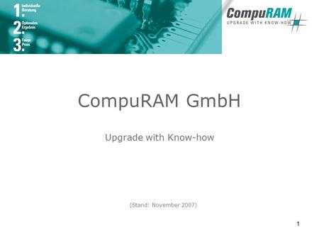 1 CompuRAM GmbH Upgrade with Know-how (Stand: November 2007)
