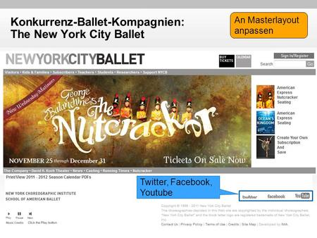 Konkurrenz-Ballet-Kompagnien: The New York City Ballet Twitter, Facebook, Youtube An Masterlayout anpassen.