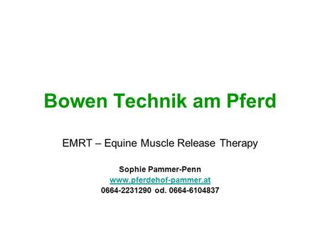 EMRT – Equine Muscle Release Therapy