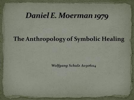 The Anthropology of Symbolic Healing Wolfgang Schulz A0306114.