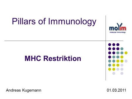 Pillars of Immunology MHC Restriktion Andreas Kugemann  01.03.2011.