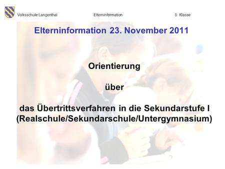 Elterninformation 23. November 2011