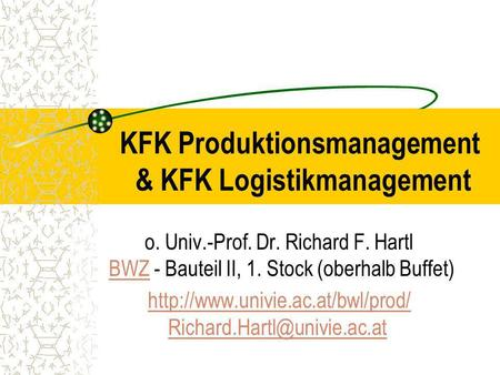 KFK Produktionsmanagement & KFK Logistikmanagement