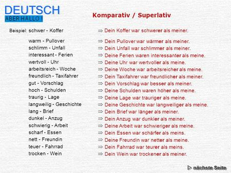 DEUTSCH Komparativ / Superlativ