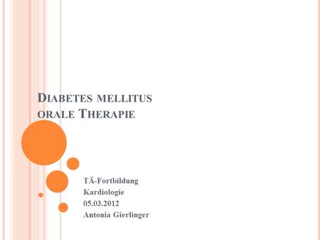 Diabetes mellitus orale Therapie
