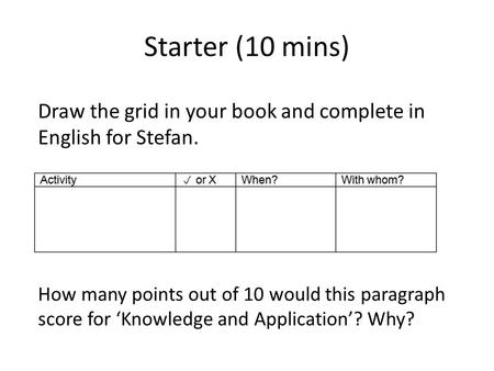 Starter (10 mins) How many points out of 10 would this paragraph score for Knowledge and Application? Why? Draw the grid in your book and complete in English.