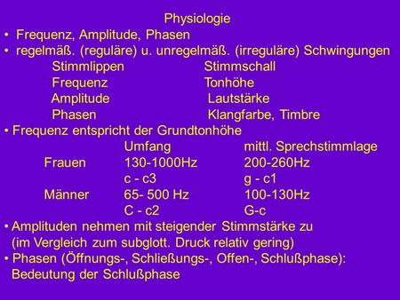 Physiologie Frequenz, Amplitude, Phasen
