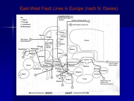 East-West Fault Lines in Europe (nach N. Davies).