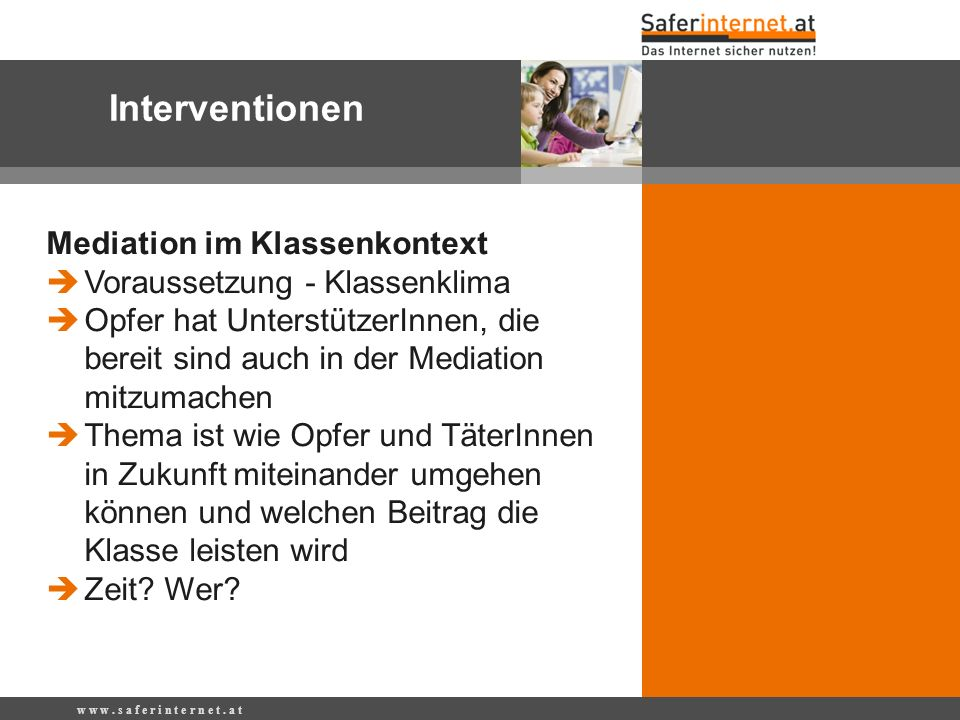 Interventionen Mediation im Klassenkontext