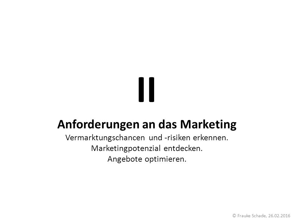 Anforderungen an das Marketing