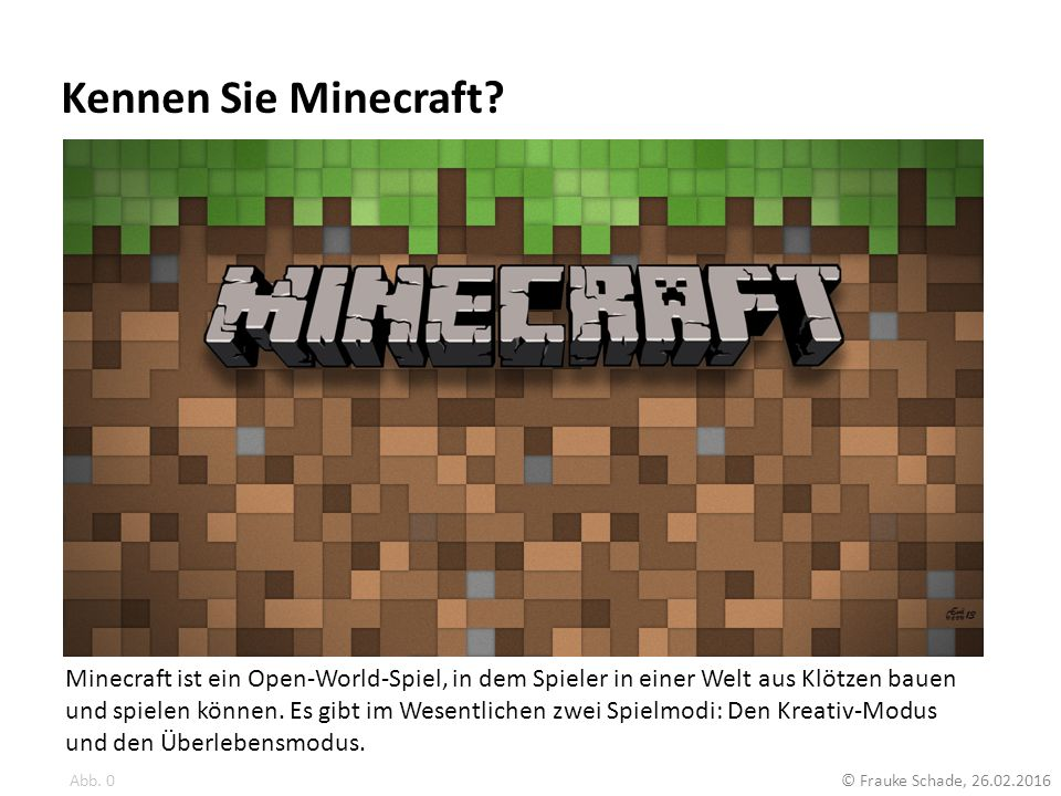 Kennen Sie Minecraft
