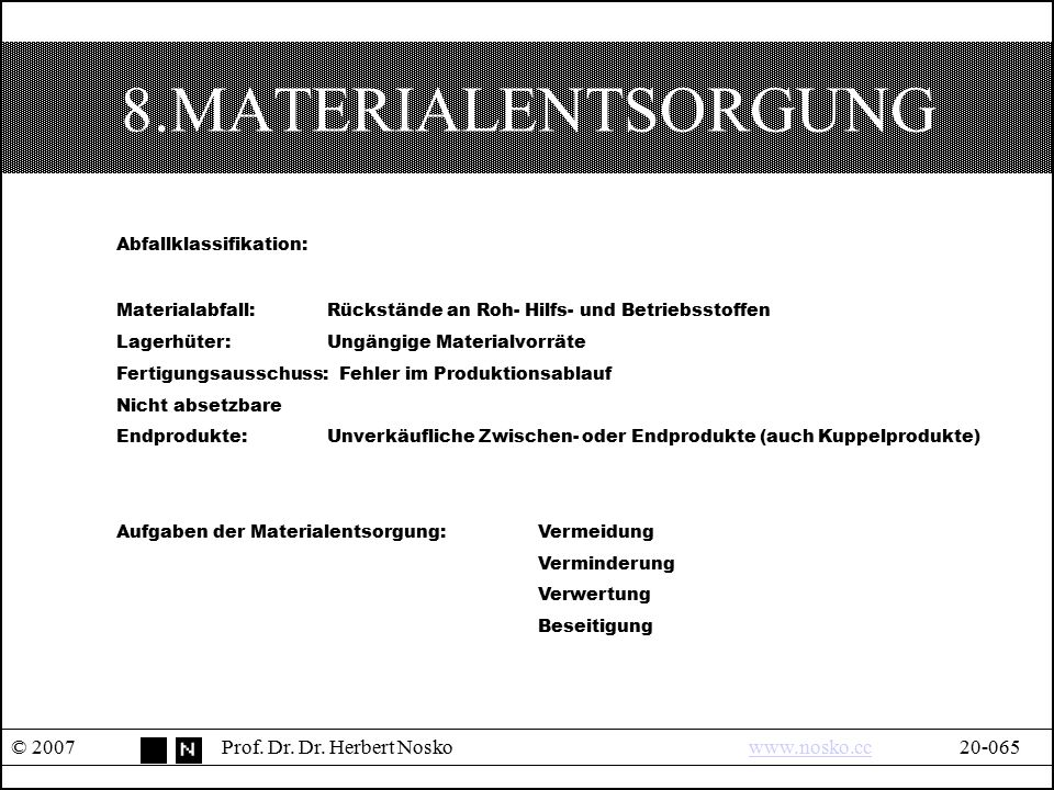 8.MATERIALENTSORGUNG Abfallklassifikation: