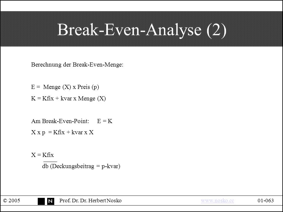 Break-Even-Analyse (2)