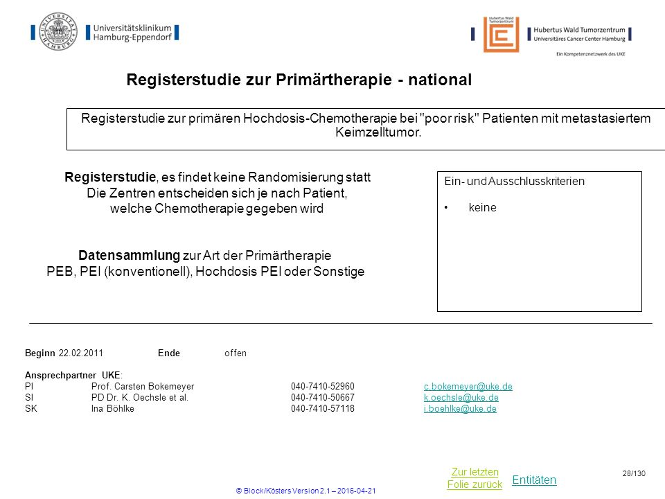 Registerstudie zur Primärtherapie - national