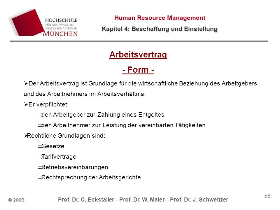 Arbeitsvertrag - Form -