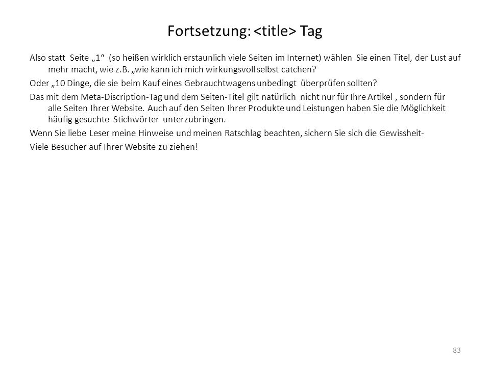 Fortsetzung: <title> Tag