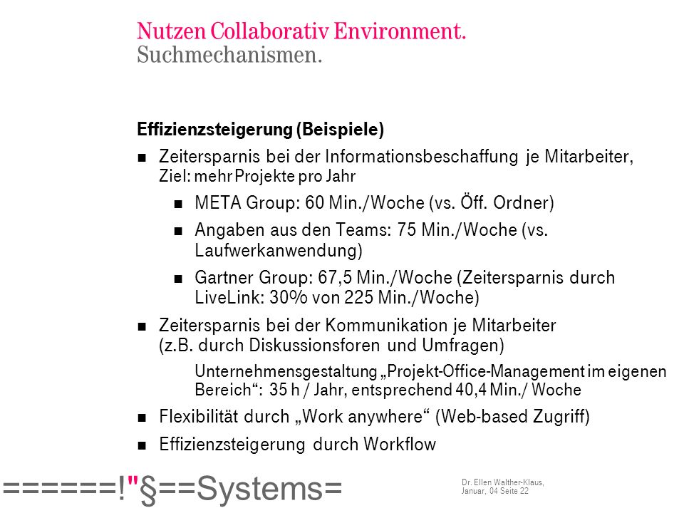 Nutzen Collaborativ Environment. Suchmechanismen.