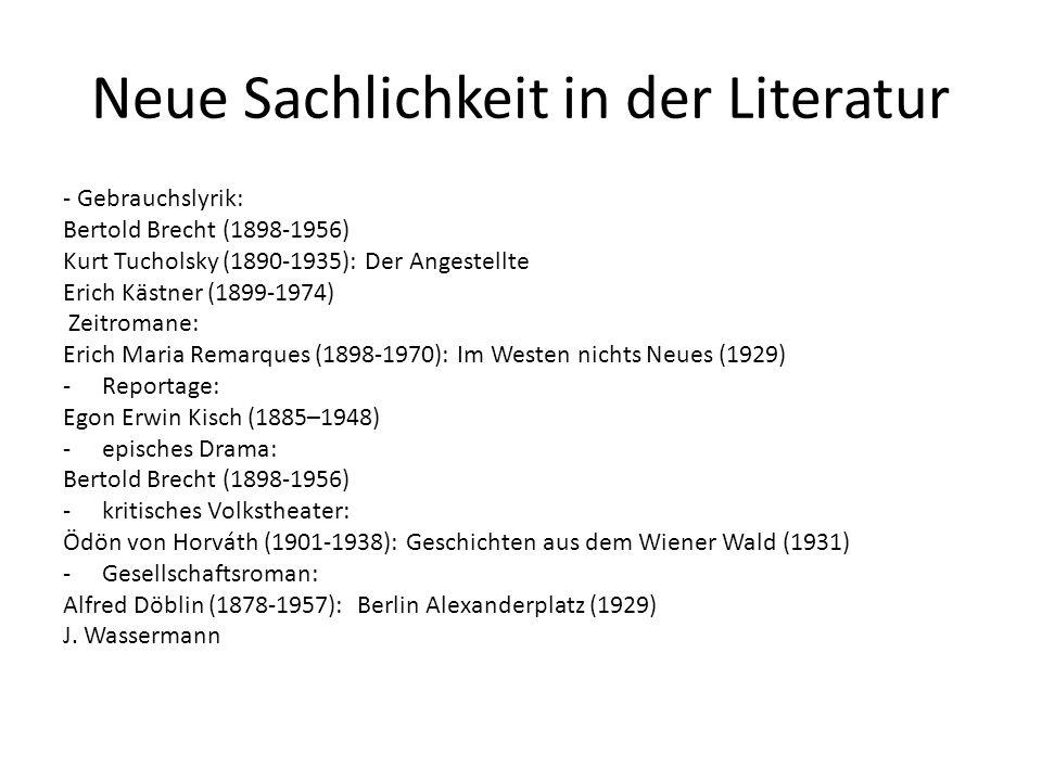 Tucholsky gedichte neue sachlichkeit