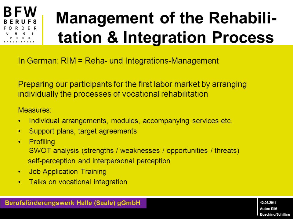 Management of the Rehabili-tation & Integration Process