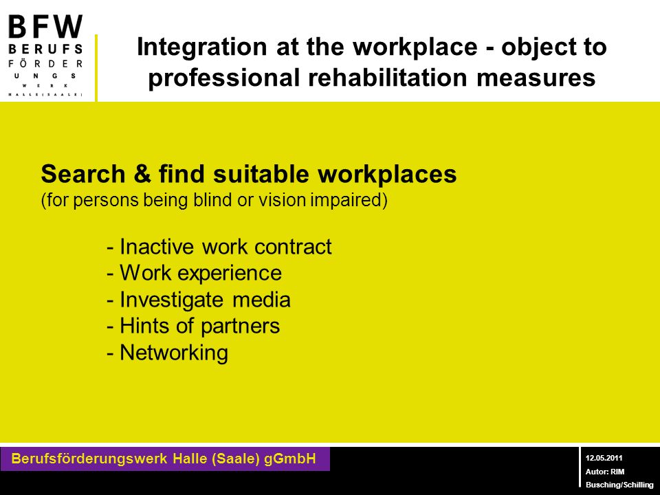 Search & find suitable workplaces