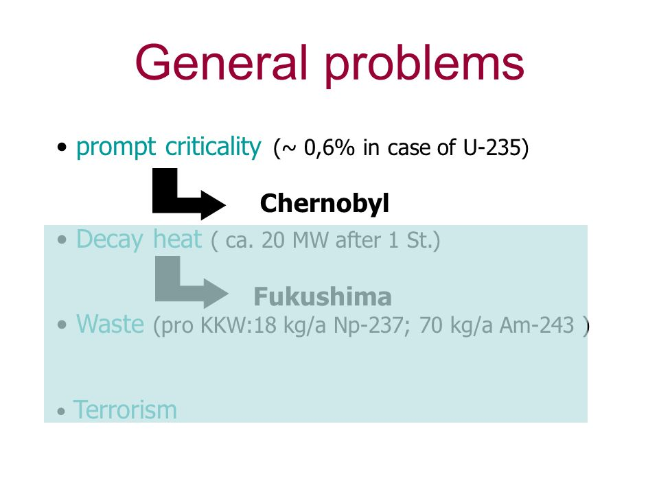 General problems prompt criticality (~ 0,6% in case of U-235)