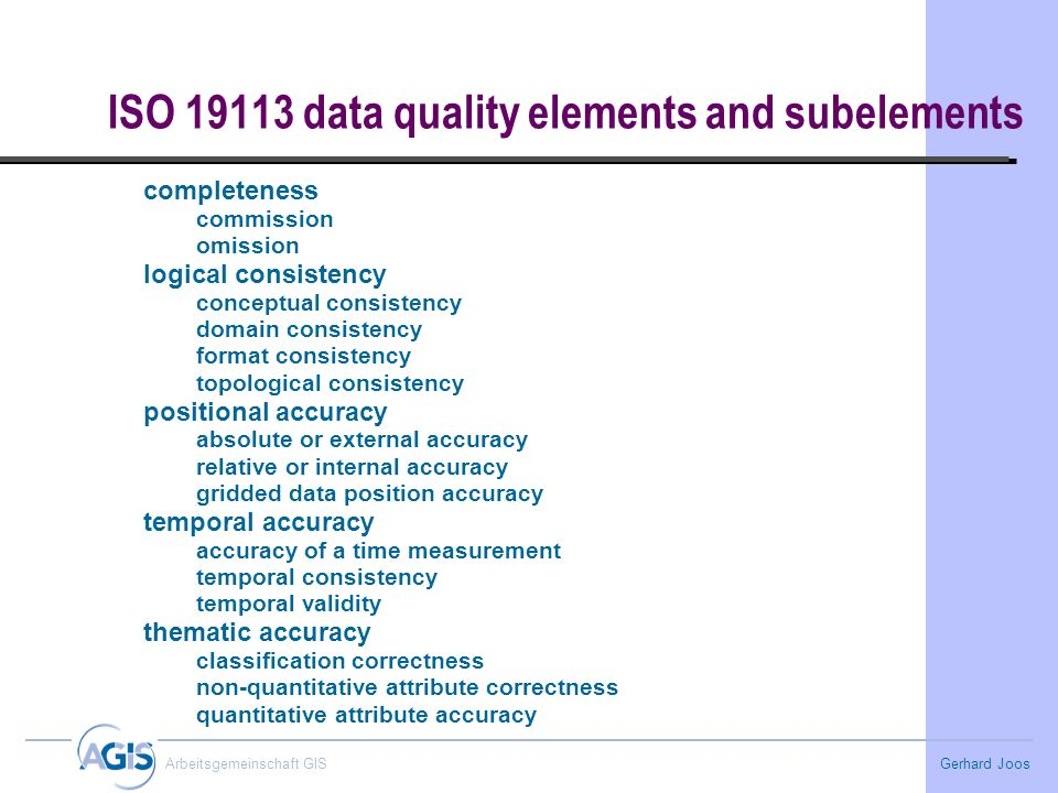 ISO data quality elements and subelements