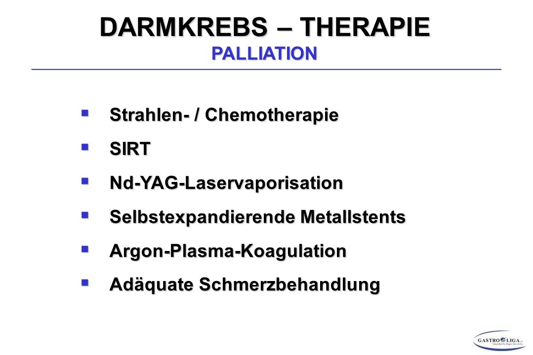 DARMKREBS – THERAPIE PALLIATION