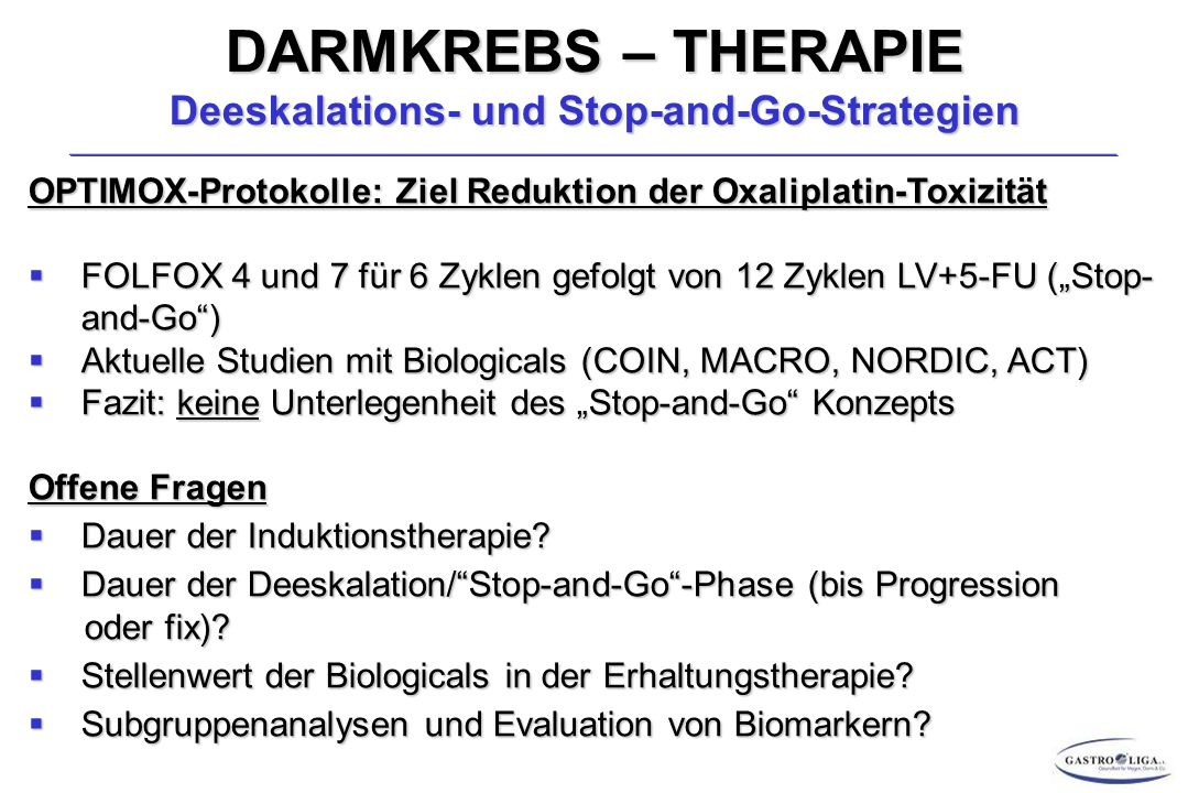 DARMKREBS – THERAPIE Deeskalations- und Stop-and-Go-Strategien