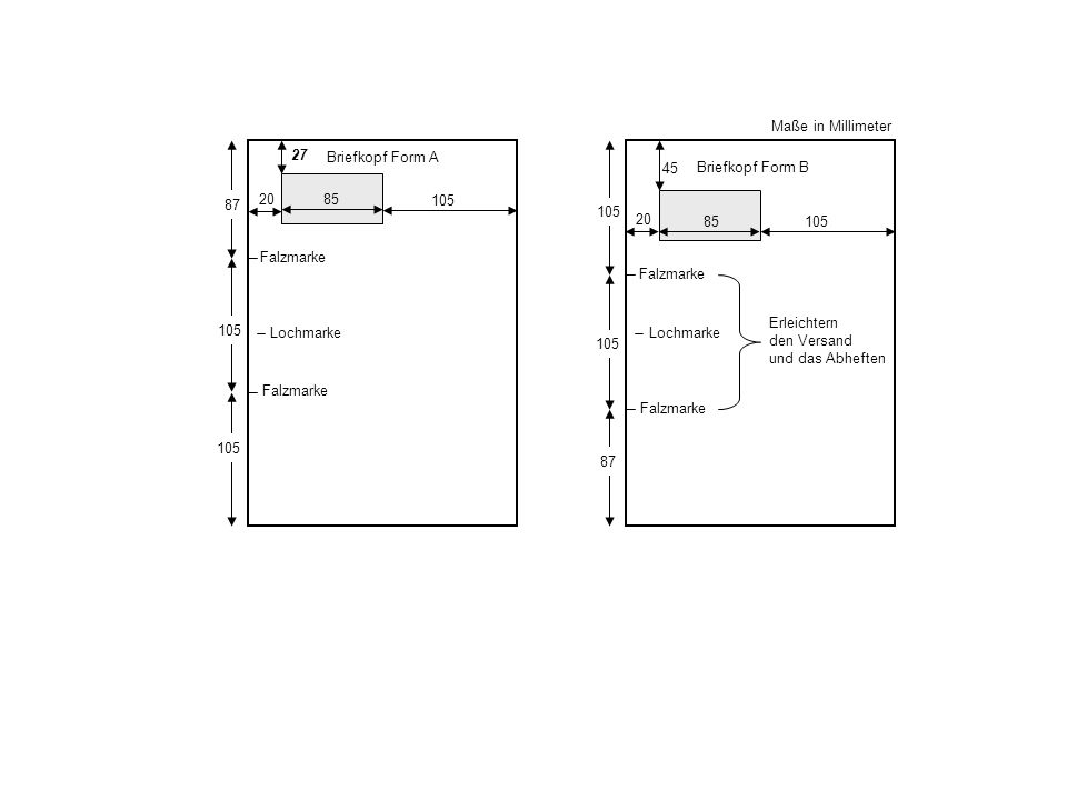 Anschriftenblock Feld Für Briefkopf Form A Maße In Millimeter Ppt