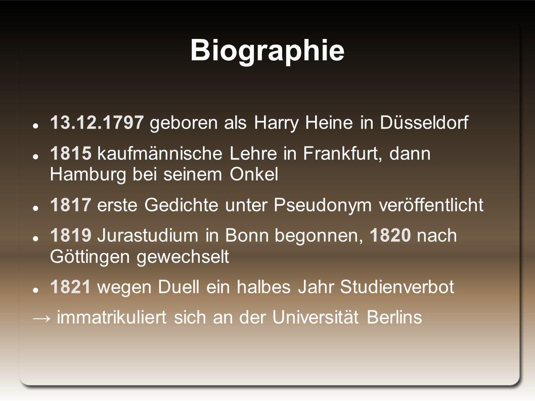 heinrich heine 11 biographie - Heinrich Heine Lebenslauf