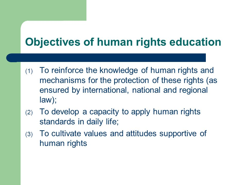 Objectives of human rights education