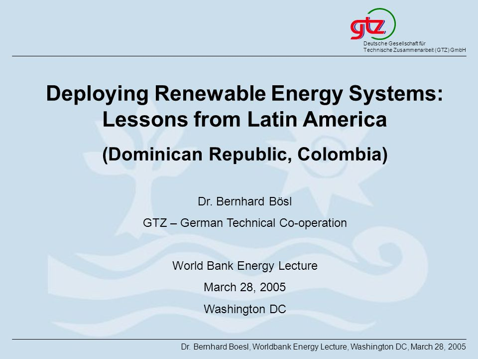 Deploying Renewable Energy Systems: Lessons from Latin America