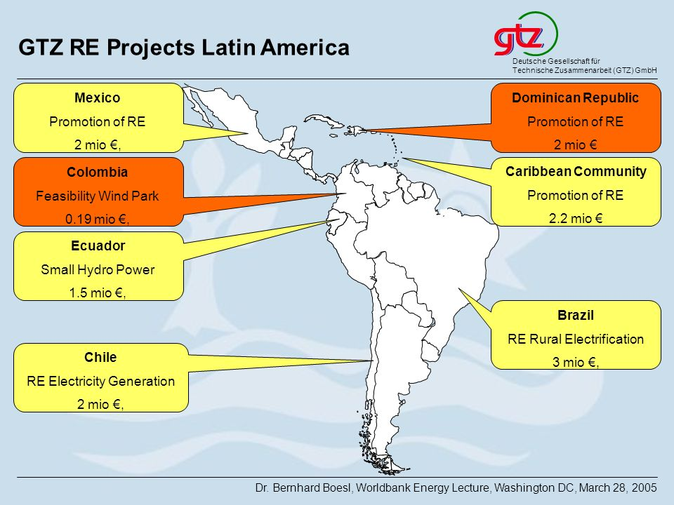 GTZ RE Projects Latin America