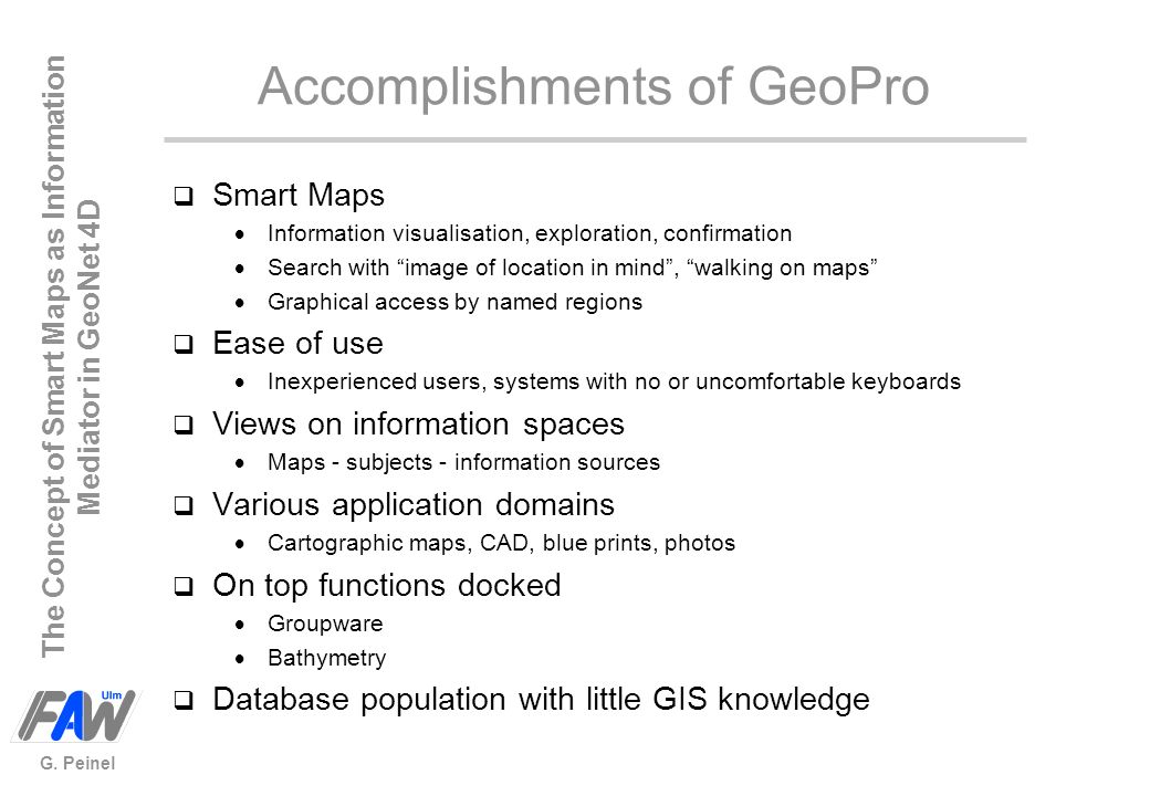Accomplishments of GeoPro