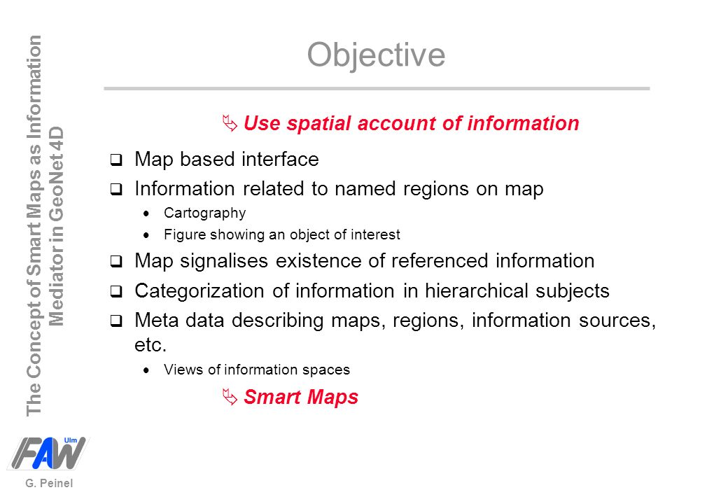Objective Use spatial account of information Map based interface
