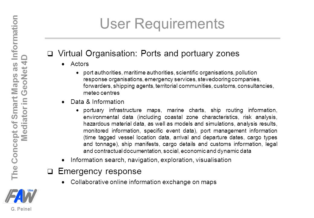 User Requirements Virtual Organisation: Ports and portuary zones
