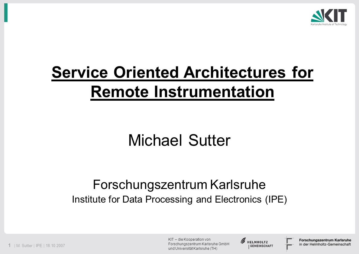 Service Oriented Architectures for Remote Instrumentation