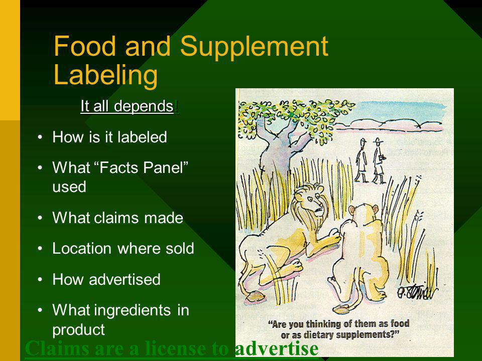 Food and Supplement Labeling