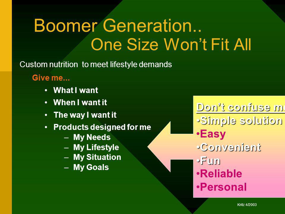 Boomer Generation.. One Size Won't Fit All